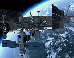 3D model low-poly international space station