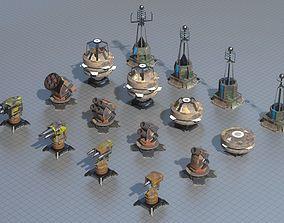 Turrets bundle 3D asset