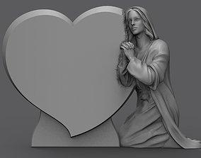 3D print model praying woman tombstone