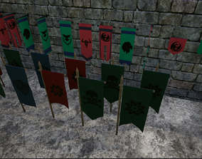 Medieval War Banner Collection 3D model