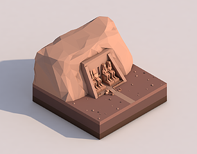 3D model Cartoon Low Poly Abu Simbel Landmark
