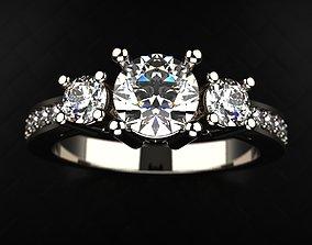 Engagement ring 3 stones 3D printable model