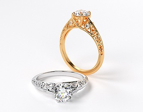 3D printable model classic gold engagement ring with 1ct