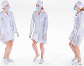 3D model animated Scan rigged female medical nurse 01