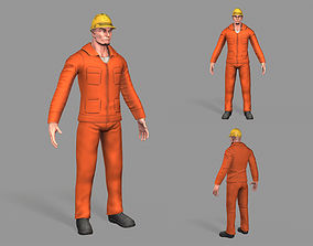Construction Worker 3D asset low-poly