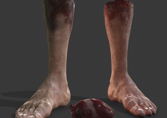 Halloween severed foot and Heart