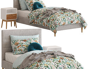 3D Adairs Kids Darcy Bed and Jax Side Table