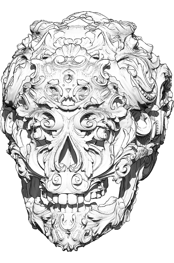 Carved pattern skull art. High detailed.