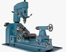 Metal Lathe with Mill Drill 3D model