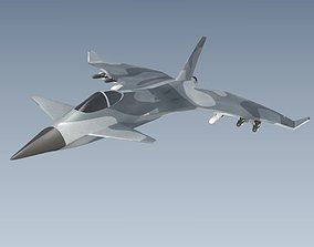 Jetfighter aircraft concept 3D model game-ready