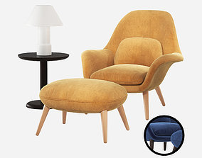Fredericia Swoon Lounge Armchair Ottoman 3D