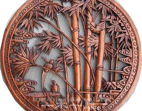 3D printable model Mural Bamboo wood carving file stl 4