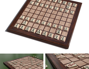3D asset low-poly luxury laminated Shogi board
