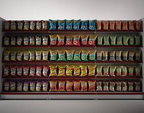 3D gondola shelves with Potato Chips shelf