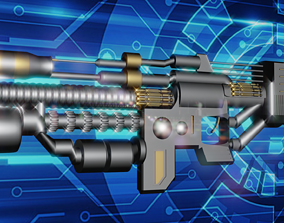 3D animated sci-fi weapon