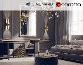 Corona - C4D files - Hotel Bedroom 3D model