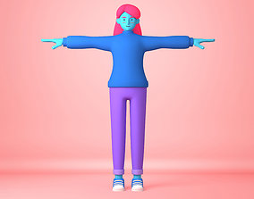 Cartoon Character young woman 3D