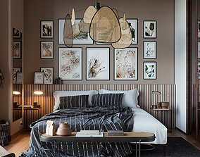 3D Vienna straw bedroom interior scene