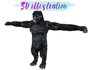 3D model Low Poly Gorilla Illustration Animated - Game