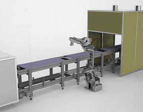 Double speed chain assembly line 3D