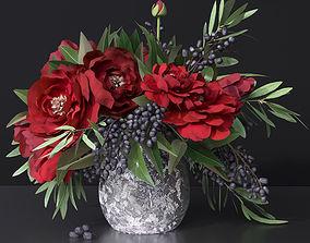 Red Peonies Vase 3D model