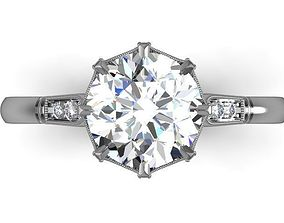 Antique diamond engagement ring 3D print model rings