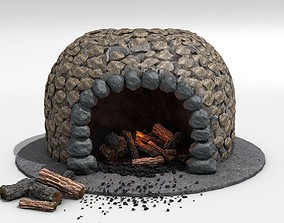3D Fireplace - Stone round architectural
