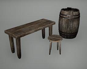 Viking Barrel Bench Stool Low Poly Game 3D asset