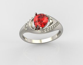 Women ring with gem and diamonds 3dm stl