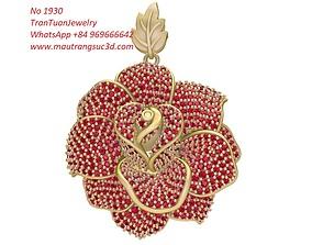 3D printable model 1930 Luxury Diamond Rose Pendant