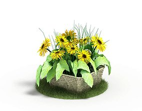 3D Faux Sunflowers In A Basket