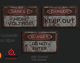 3D asset VR / AR ready Rusted Industrial Signs PBR