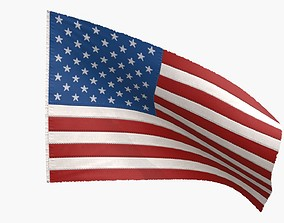 US Flag 50 Stars 1960-Today 3D model animated