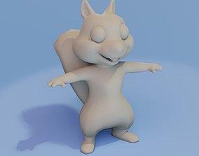 rigged Cartoon Squirrel Rigged Base Mesh 3D Model