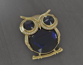 silver 3D printable model Owl Pendant