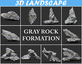3D model Low poly Gray Rock Formation Pack