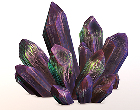 3D model Crystals with Emissive paint for emphasis in
