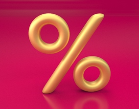 Percent golden sign for web graphics SUBDIVIDE 3D model