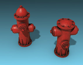 fire hydrant 3D model low-poly PBR