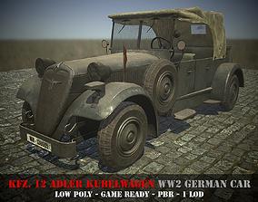3D asset Kfz12 Adler Kubelwagen - WW2 German Car - Game 2