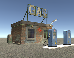 3D asset low-poly street GAS STATION