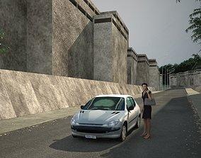 Low poly car standard 3D model realtime
