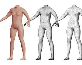 Character 02 High and Low-poly - Body male 3D