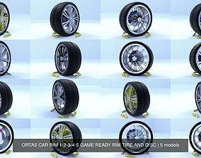 3D ORTAS CAR RIM 1-2-3-4-5 GAME READY RIM TIRE AND DISC