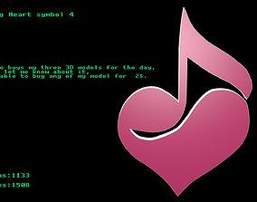 3D asset Low poly Heart symbol 4