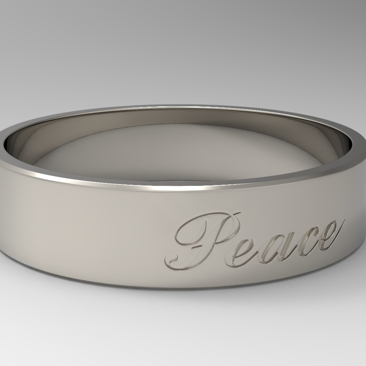 Peace Ring with Platinum Polished material