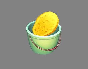 3D model Cartoon Bucket and Sponge