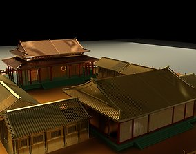 Chinese courtyard house architectural 3D model