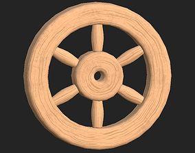 Cartoon wooden wheel 1 3D asset