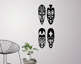 African masks for wall decoration - 3D printable model 3
